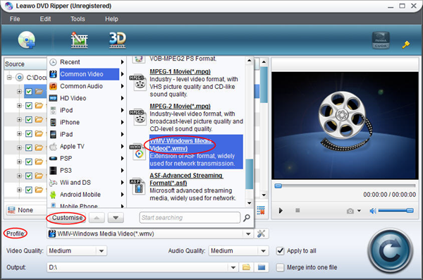 Choose format with DVD Ripper