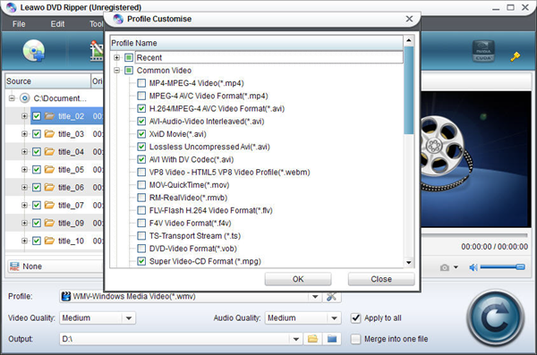 Customize ouput format list with DVD Ripper