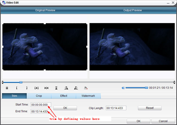 Trim video with DVD Ripper