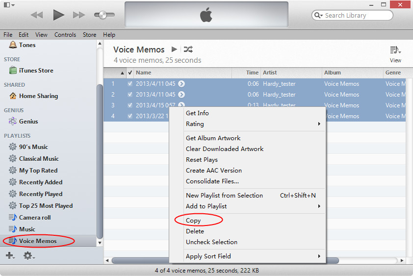 Copy voice memos from iTunes to computer