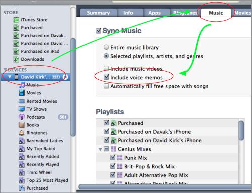 Sync voice memos with iTunes