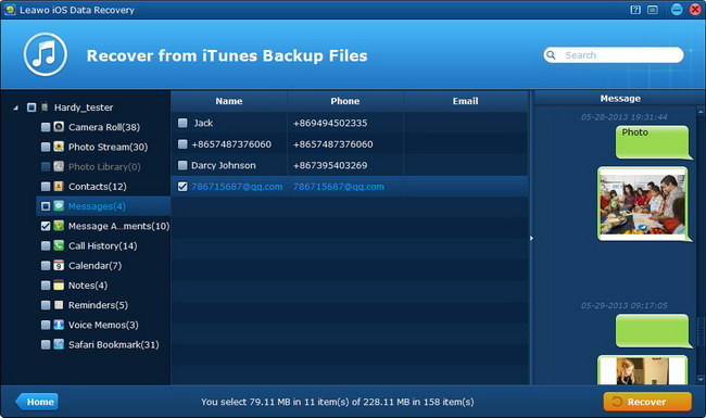 Preview data in iTunes backup