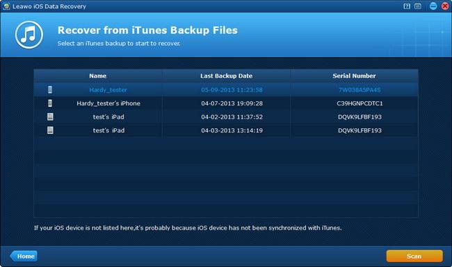 Select iTunes backup