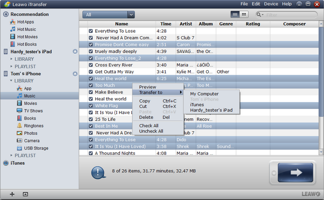 Select Music Files from iPhone