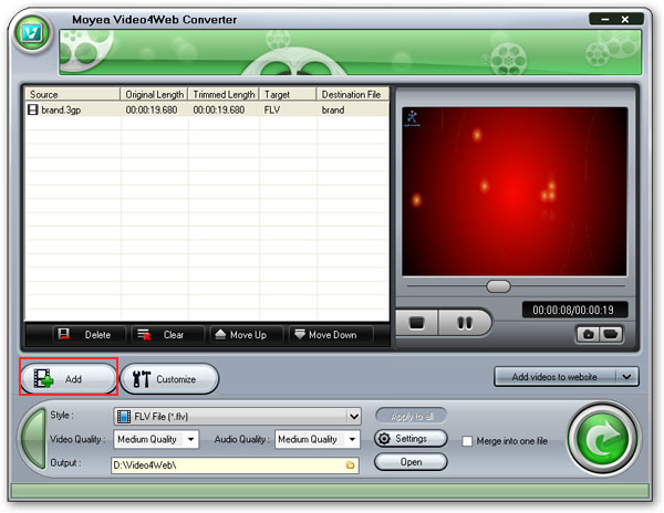Load Video4Web to convert 3gp to flv