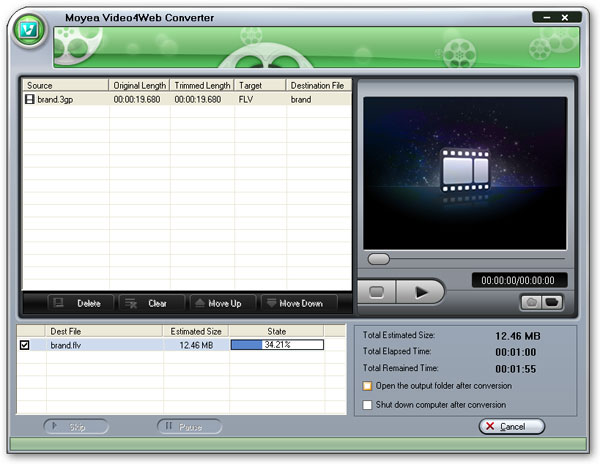 Start to convert 3gp to flv