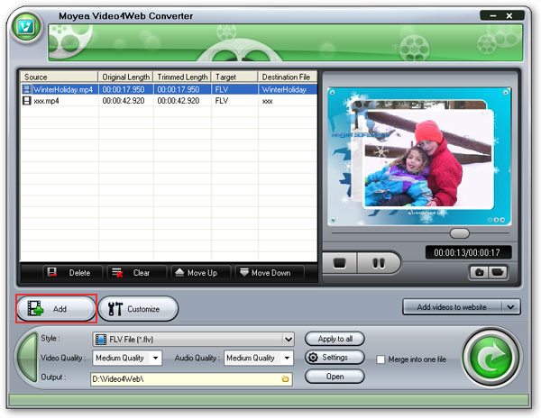 Load Video4Web to convert mp4 to flv