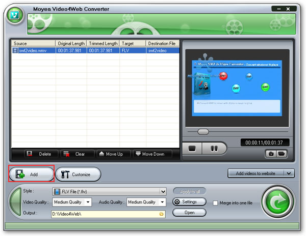 Load Video4Web to convert wmv to flv